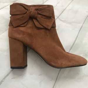 Kate Spade Suede Chunky Heel Bootie w/ Bow